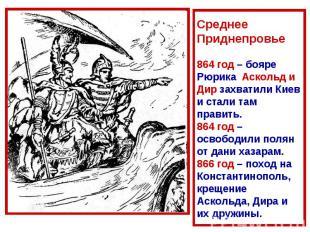 Среднее Приднепровье864 год – бояре Рюрика Аскольд и Дир захватили Киев и стали