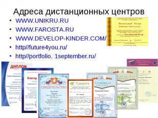 Адреса дистанционных центров WWW.UNIKRU.RUWWW.FAROSTA.RUWWW.DEVELOP-KINDER.COM/h