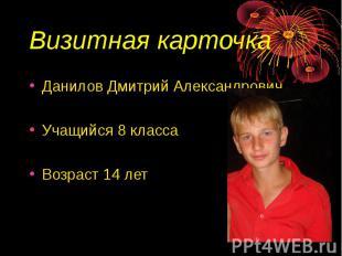 Визитная карточка Данилов Дмитрий АлександровичУчащийся 8 классаВозраст 14 лет