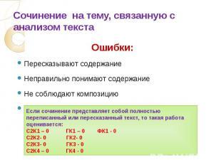 Сочинение на тему, связанную с анализом текста Ошибки:Пересказывают содержаниеНе
