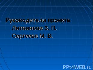 Руководители проекта Литвинова З. П. Сергеева М. В.