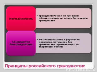 Неотъемлемостьгражданин России ни при каких обстоятельствах не может быть лишен