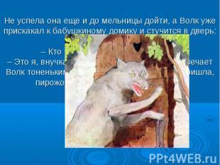 Не успела она еще и до мельницы дойти, а Волк уже прискакал к бабушкиному домику