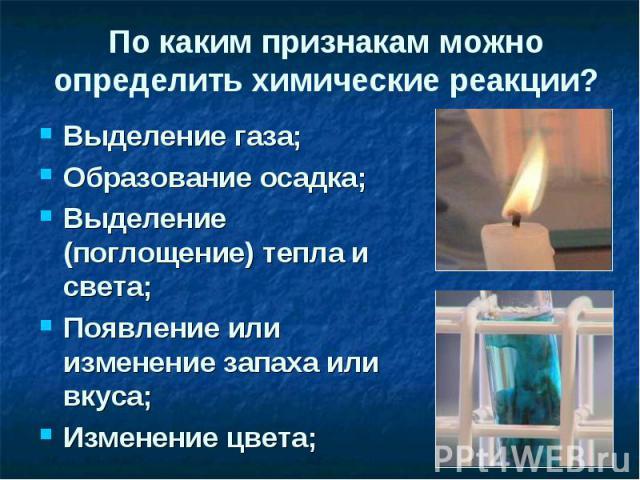 По каким признакам можно определить химические реакции? Выделение газа;Образование осадка;Выделение (поглощение) тепла и света;Появление или изменение запаха или вкуса;Изменение цвета;