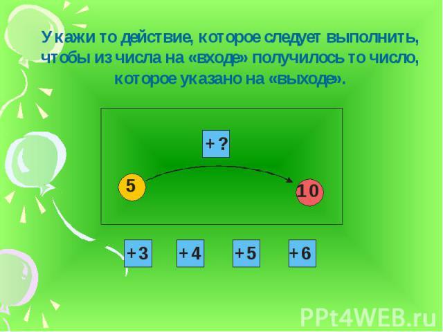 Укажи то действие, которое следует выполнить, чтобы из числа на «входе» получилось то число, которое указано на «выходе».