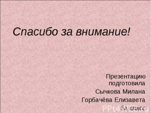 Спасибо за внимание! Презентацию подготовилаСычкова МиланаГорбачёва Елизавета5а