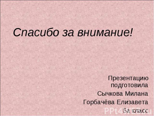 Спасибо за внимание! Презентацию подготовилаСычкова МиланаГорбачёва Елизавета5а класс