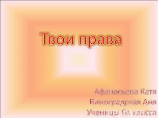 Твои права Афанасьева Катя Виноградская АняУченицы 6в класса
