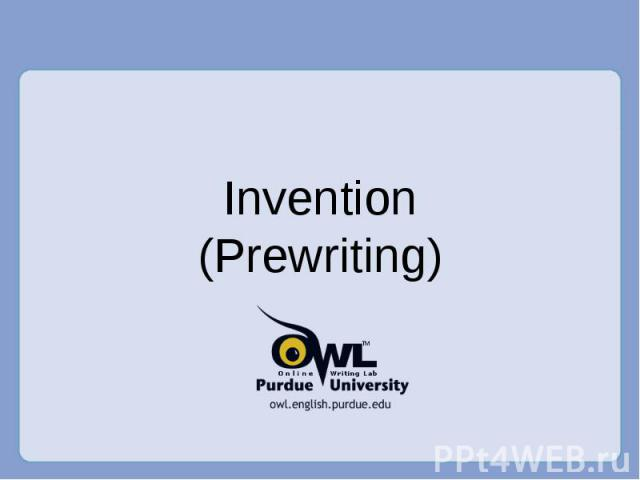 Invention(Prewriting)