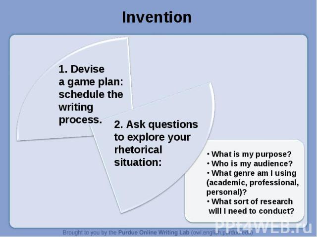 Invention 1. Devisea game plan: schedule the writing process.2. Ask questions to explore your rhetorical situation: What is my purpose? Who is my audience? What genre am I using (academic, professional, personal)? What sort of research will I need t…