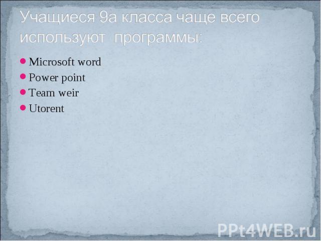 Учащиеся 9а класса чаще всего используют программы: Microsoft wordPower pointTeam weirUtorent