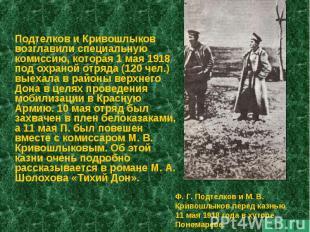 Подтелков и Кривошлыков возглавили специальную комиссию, которая 1 мая 1918 под