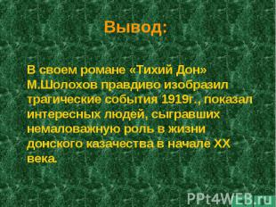 Вывод: В своем романе «Тихий Дон» М.Шолохов правдиво изобразил трагические событ