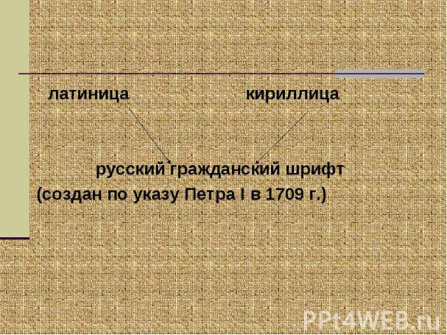 латиница кириллица русский гражданский шрифт(создан по указу Петра I в 1709 г.)