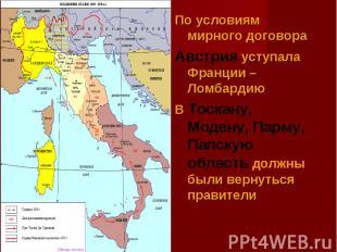 По условиям мирного договораАвстрия уступала Франции – ЛомбардиюВ Тоскану, Моден