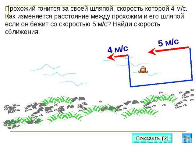 Прохожий гонится за своей шляпой, скорость которой 4 м/с. Как изменяется расстояние между прохожим и его шляпой, если он бежит со скоростью 5 м/с? Найди скорость сближения.