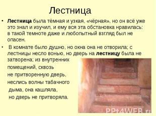 Лестница Лестница была тёмная и узкая, «чёрная», но он всё уже это знал и изучил