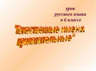 """урок русского языка в 6 классе """"Качественные имена прилагательные"""""""