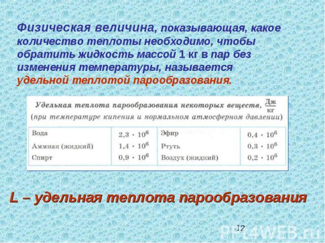 Физическая величина, показывающая, какое количество теплоты необходимо, чтобы обратить жидкость массой 1 кг в пар без изменения температуры, называется удельной теплотой парообразования.L – удельная теплота парообразования