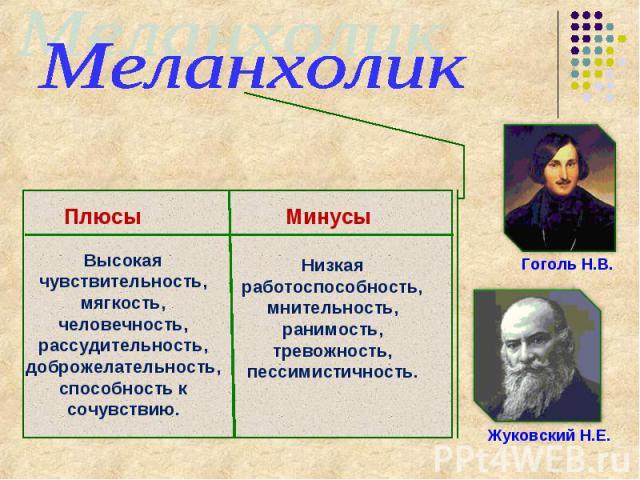 МеланхоликГоголь Н.В.Жуковский Н.Е.