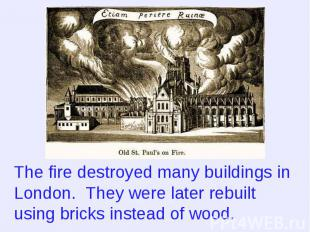 The fire destroyed many buildings in London. They were later rebuilt using brick
