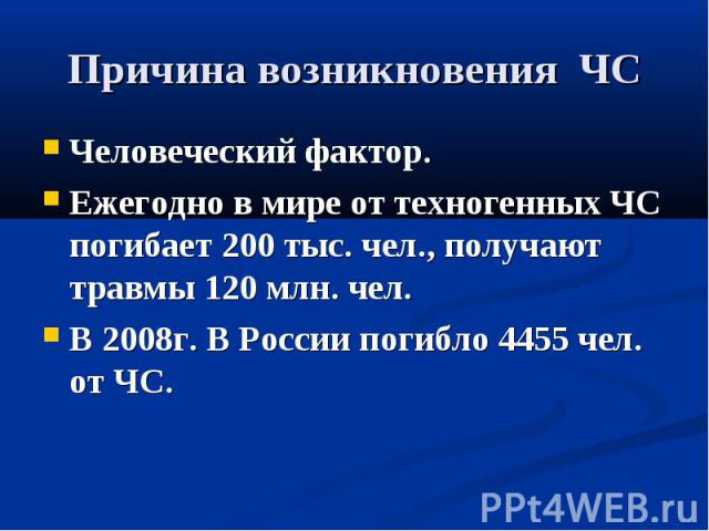 Причина возникновения ЧС Человеческий фактор.Ежегодно в мире от техногенных ЧС погибает 200 тыс. чел., получают травмы 120 млн. чел.В 2008г. В России погибло 4455 чел. от ЧС.