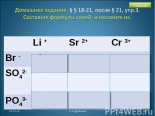 Домашнее задание. § § 18-21, после § 21, упр.3. Составьте формулы солей и назови