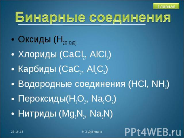 Бинарные соединения Оксиды (Н2О, СuO)Хлориды (СаСl2, AlCl3)Карбиды (СаС2, Аl4C3)Водородные соединения (НСl, NH3)Пероксиды(Н2О2, Na2O2)Нитриды (Mg3N2, Na3N)