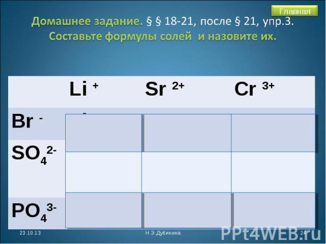 Домашнее задание. § § 18-21, после § 21, упр.3. Составьте формулы солей и назовите их.