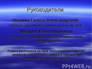 Руководители Нечаева Галина Александровна учитель экологии и химии школы № 516 Ф