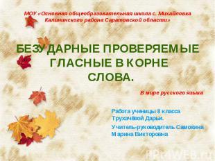 МОУ «Основная общеобразовательная школа с. Михайловка Калининского района Сарато