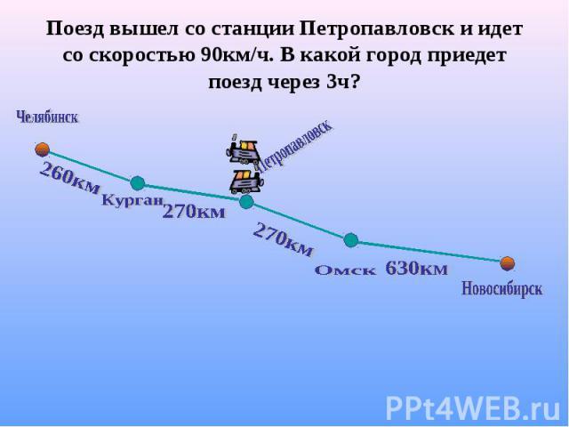 Поезд вышел со станции Петропавловск и идет со скоростью 90км/ч. В какой город приедет поезд через 3ч?