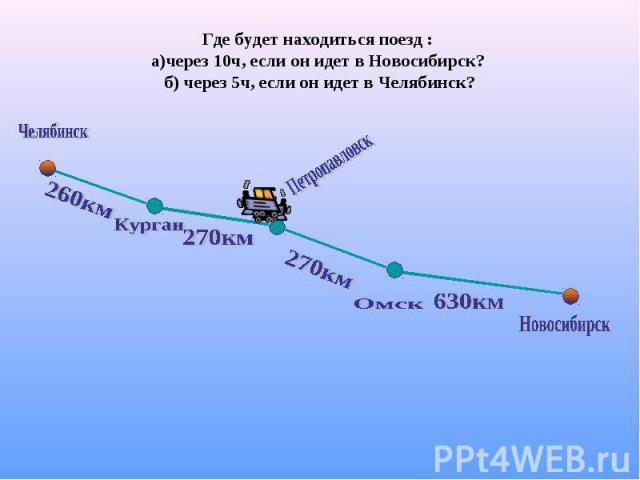 Где будет находиться поезд : а)через 10ч, если он идет в Новосибирск? б) через 5ч, если он идет в Челябинск?