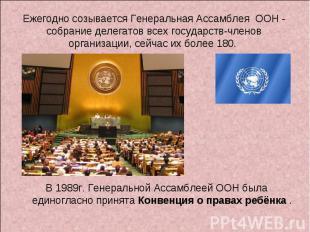 Ежегодно созывается Генеральная Ассамблея ООН - собрание делегатов всех государс