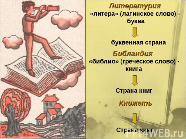 Литературия «литера» (латинское слово) - буквабуквенная странаБибландия «библио» (греческое слово) - книгаСтрана книгКнижетьСтрана книг