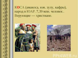 КОСА (амакоса, юж. зулу, кафры), народ в ЮАР. 7,39 млн. человек . Верующие — хри