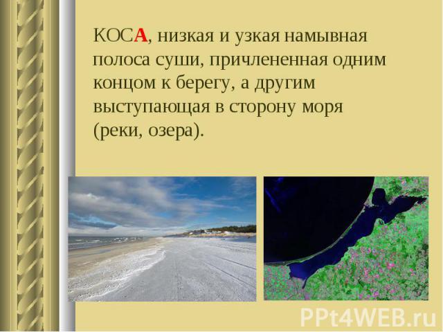 КОСА, низкая и узкая намывная полоса суши, причлененная одним концом к берегу, а другим выступающая в сторону моря (реки, озера).