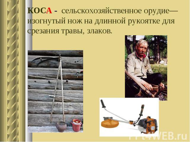 КОСА - сельскохозяйственное орудие—изогнутый нож на длинной рукоятке для срезания травы, злаков.