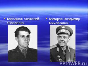 Карташов Анатолий Яковлевич. Комаров Владимир Михайлович.