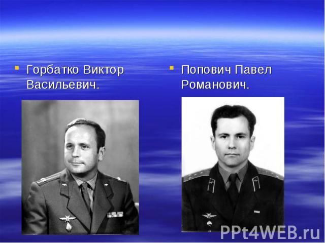 Горбатко Виктор Васильевич. Попович Павел Романович.