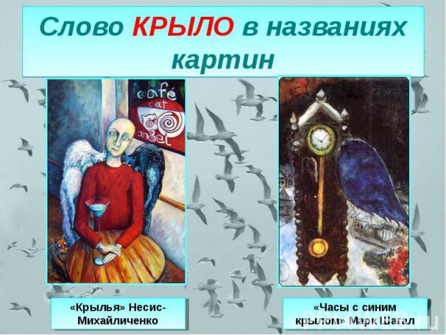 Слово КРЫЛО в названиях картин «Крылья» Несис-Михайличенко«Часы с синим крылом» Марк Шагал