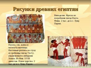 Рисунки древних египтян Виноделие. Фреска из погребения писца Нахта. Фивы. 2 тыс