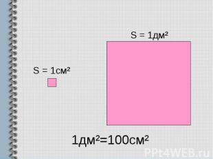 1дм²=100см²