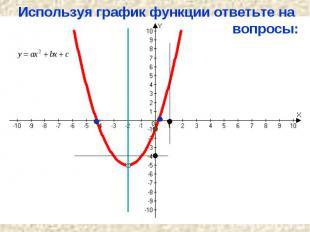 Используя график функции ответьте на вопросы: