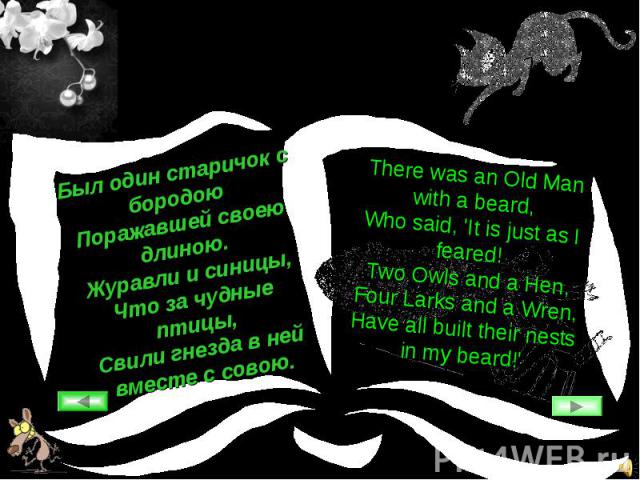 Был один старичок с бородоюПоражавшей своею длиною.Журавли и синицы,Что за чудные птицы,Свили гнезда в ней вместе с совою.There was an Old Man with a beard,Who said, 'It is just as I feared!Two Owls and a Hen,Four Larks and a Wren,Have all built the…