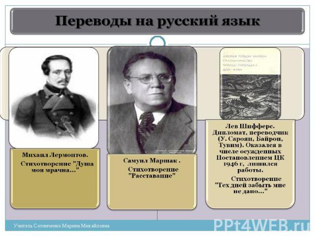 Переводы на русский язык Михаил Лермонтов. Стихотворение
