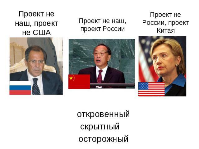 Проект не наш, проект не СШАПроект не наш, проект РоссииПроект не России, проект Китая