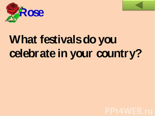 RoseWhat festivals do you celebrate in your country?