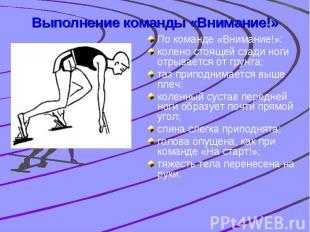 Выполнение команды «Внимание!» По команде «Внимание!»: колено стоящей сзади ноги