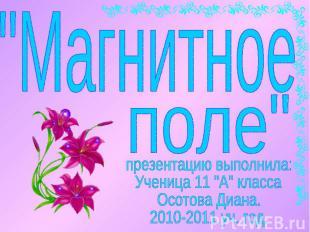"""""""Магнитное поле""""презентацию выполнила:Ученица 11 """"А"""" класса Осотова Диана.2010-2"""